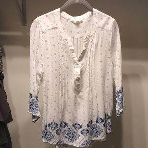 fun 2 fun Boho v-neck shirt Small white/blue